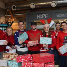 Gareth and the team at Hope Cafe with their shoeboxes for the Christmas Shoebox Appeal.