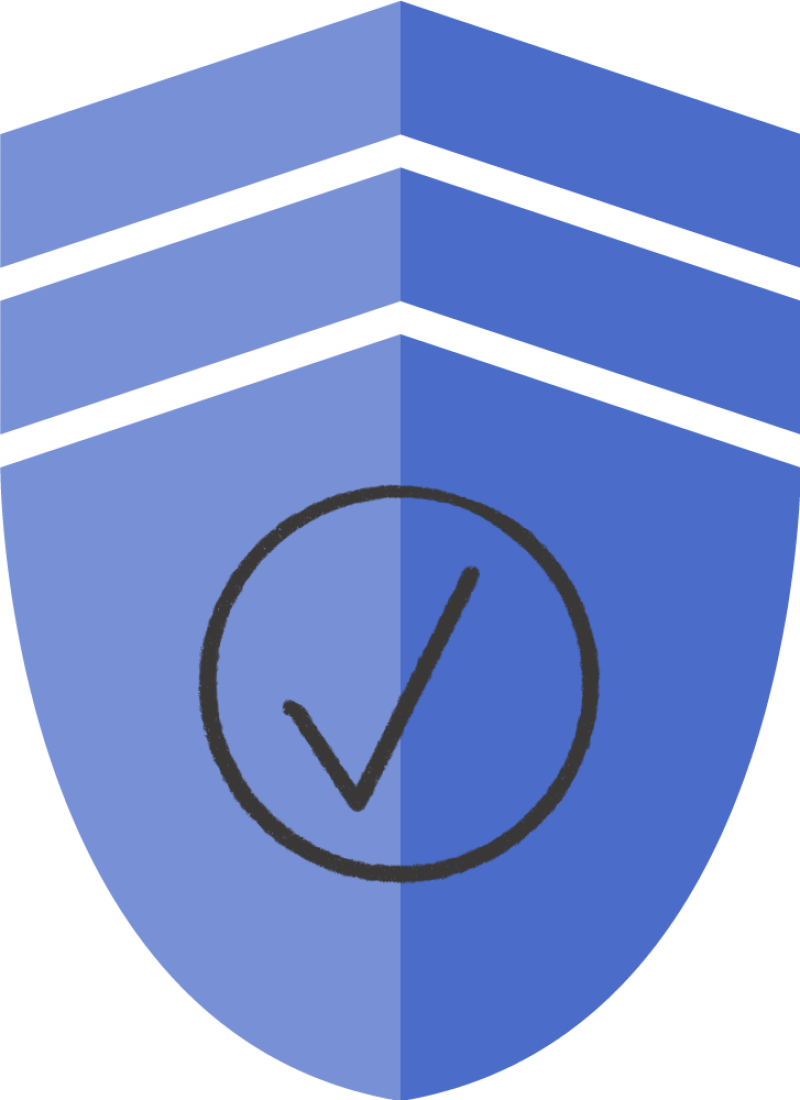 An illustration of a badge with a checkmark in a circle.