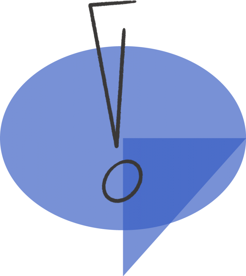 An illustration depicting a speech bubble and an explanation mark.