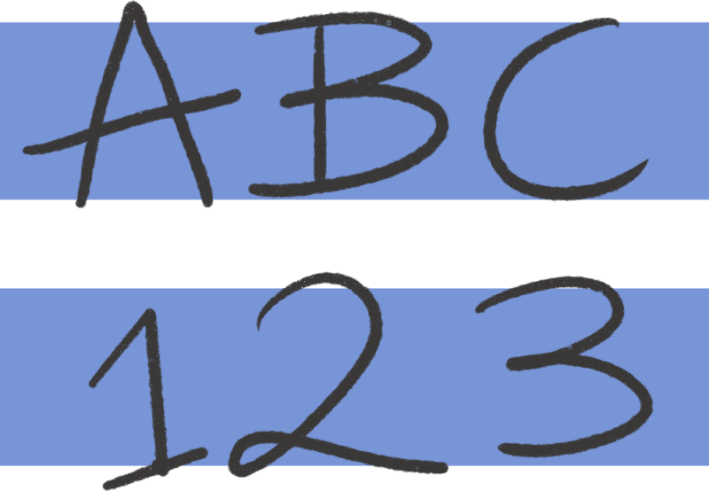 An illustration of an equals sign with letters and numbers, representing definitions.