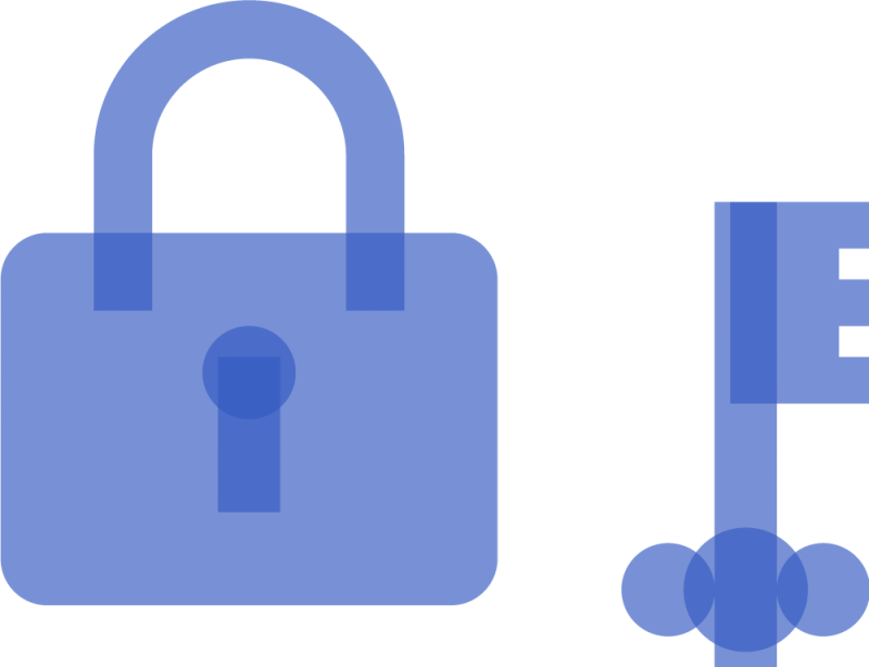 An illustration of a locked padlock and a key.