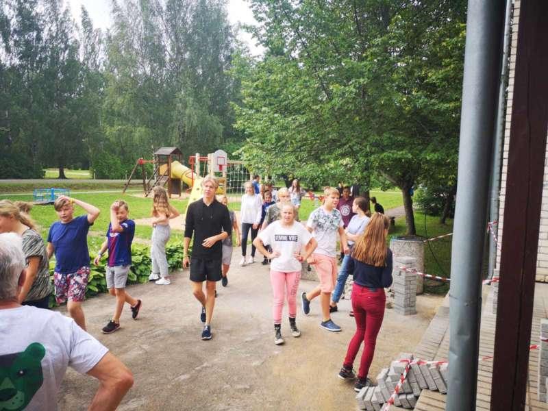 Kids outside latvia camp
