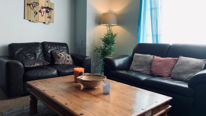 Living room tall lamp corner